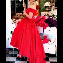 A-line Red Hi Lo Tea Length Prom Dresses Sexy Boat Neck Off the Shoulder Cheap Party Dress 2015 Vestido Fiesta