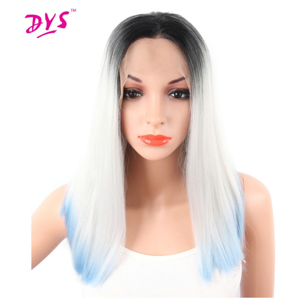 Deyngs Ombre Short Straight Bob Lace Front Wigs Pixie Cut Synthetic Three Tone Black White Blue Front Lace Hair Wig For Women