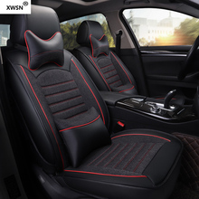 XWSN leather linen car seat cover for vw polo passat b6 b5.5 b7 b8 5 golf 6 7 touran