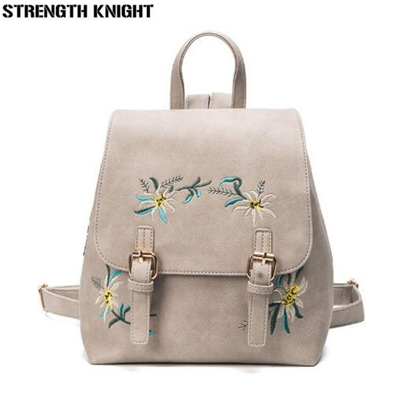 Marque de luxe femmes sacs à dos en cuir sacs d'école féminins pour filles sac à dos petit Floral broderie fleurs sac à dos Mochila