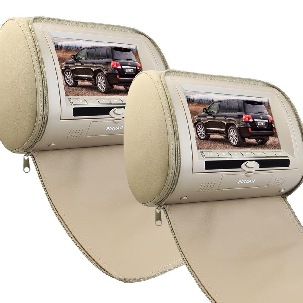7-Inch Wide Screen Headrest Video Display Monitor Built-in cd DVD Player Support USB/SD Reader+Remote Control Beige Zipper Cover car headrest 2 pieces monitor cd dvd player autoradio black 9 inch digital screen zipper car monitor usb sd fm tv game ir remote