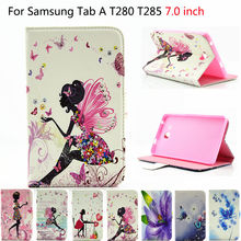"""2016 Para Samsung Tab a6 7 """"caso Impreso Muchachas de Silicio Cubierta de Cuero de LA PU Para Samsung Galaxy Tab 7.0 T280 T285 Casos Tablet Funda"""