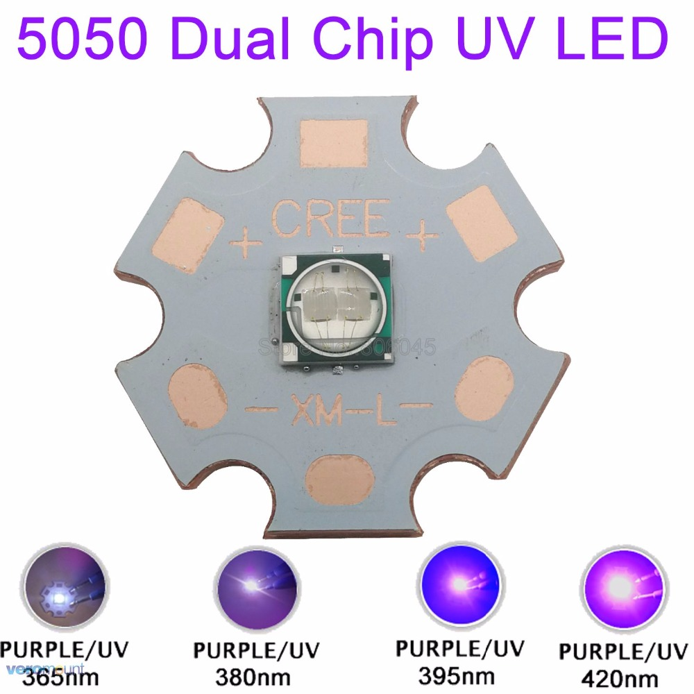 5W 5050 Ultra Violet UV 365nm 380nm 390nm 420nm High Power LED Emitter Bead 2-Chip 3.8-4.2V 350mA-1200mA On 20mm Copper Star
