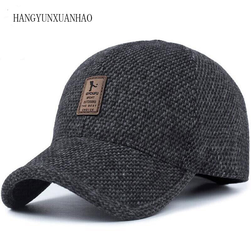 HANGYUNXUANHAO Woolen Knitted Design Winter Baseball Cap Snapback Thicken Warm Hats With Earflaps For Men Golf Hat