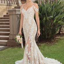 wei yin WEIYIN Wedding Dress V-Neck Sleeveless Court Train