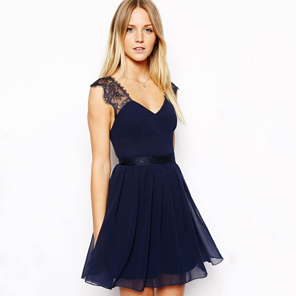 Navy short lace mini summer dress dresses elegant party vestidos brand - 2017 Summer Women Elegant Sexy Deep V Neck Hollow Out Backless Sexy Party Dresses Navy