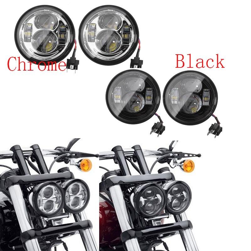 Round Dual 4.65'' inch Harley Fat Bob headlight Durable Projector Lens for harley Dyna Fat Bob motorcycle led headlight Kit цена