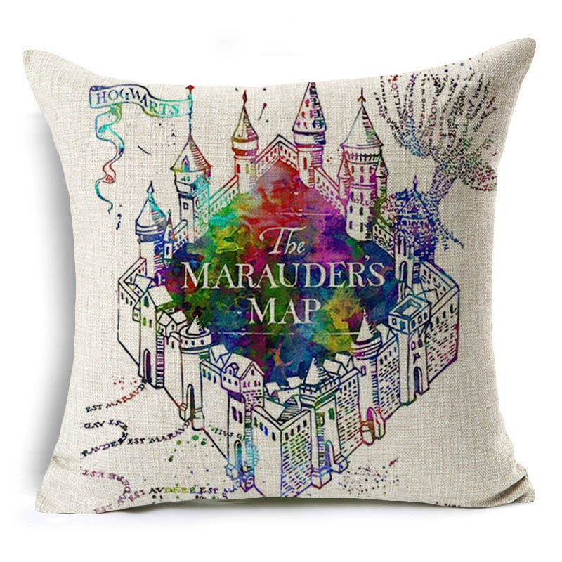 Monily Harry Potter Linen Cotton Pillow Cover Magic Sofa Decorative Square Cushion Cover Hogwarts Throw Pillowcase coussin Cojin