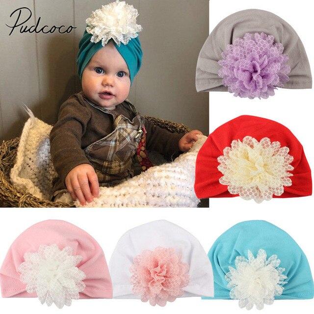 1e5f1bc05b4 2018 Brand New Newborn Infant Baby Girls Boys Big Flower Cotton Hat Indian  Cap Bonnet Beanie Hosptial Shower Lovely Gift 3M-2T