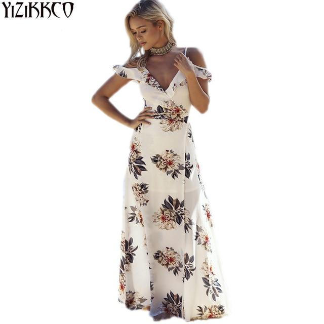 834498fce47 Boho Style Long Dress Women Beach Summer Off Shoulder Plus Size Dresses  Floral Print Vintage Chiffon V-Neck Maxi Dress vestidos