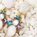 Chegada nova moda mulheres marca de metal com jóias de cristal / vidro / resina hoop big brinco para mulheres