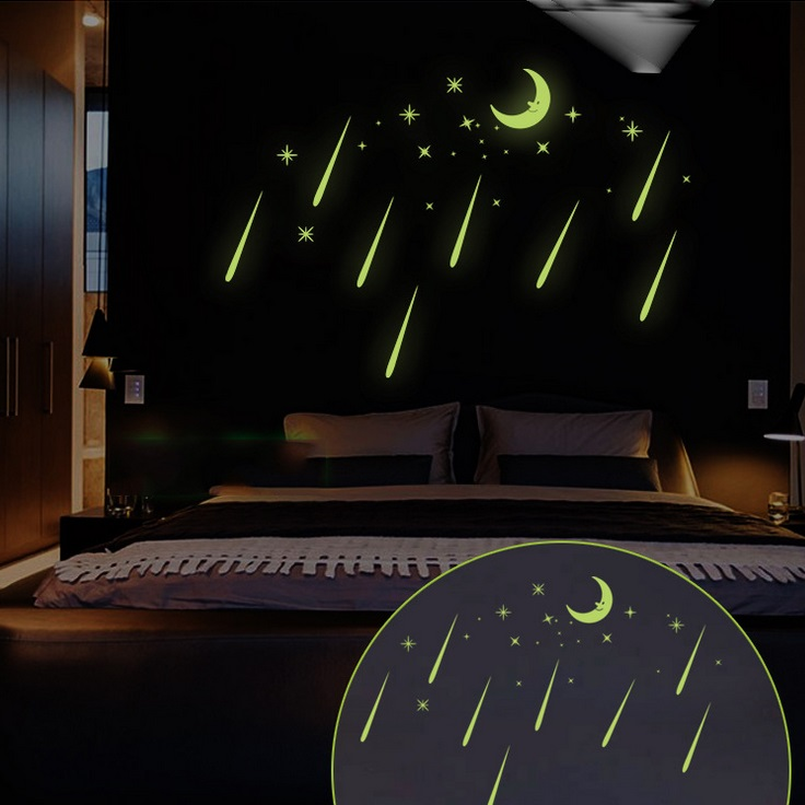 Cartoon Fluoreszierende Romantische Meteorschauer Mond DIY ...