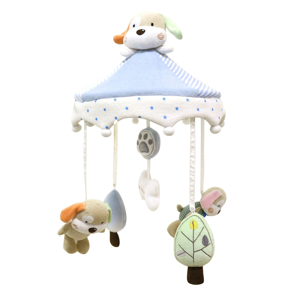 Newborn Infant Crib Rattles Bell Toy Cartoon Animal Toddler Bed Hanging Dog Happy Home Baby Plush Wind Chime Toys P0