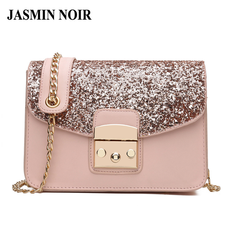 Fashion Women Sequined Messenger Bag High Quality PU Leather Womens Flap Bag Design Chain Strap Female Shoulder Crossbody Bags