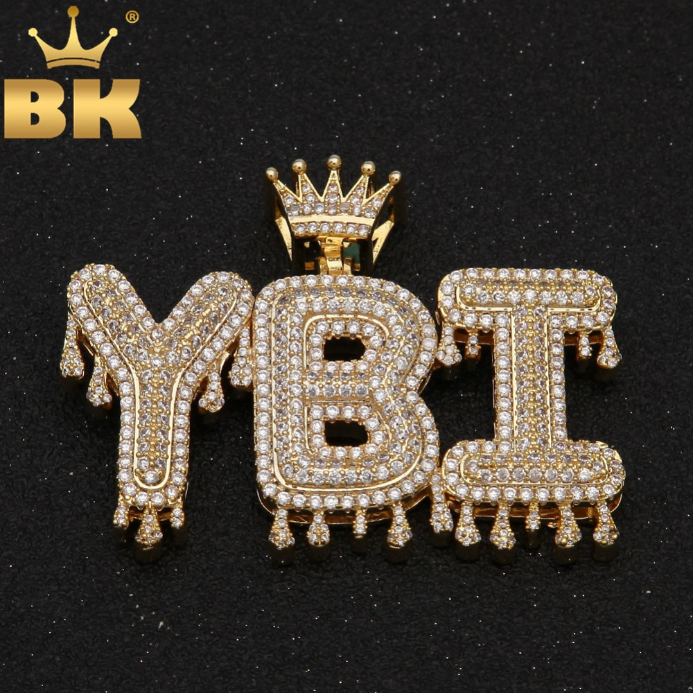 THE BLING KING Crowned Drip Letter Pendant Customzie