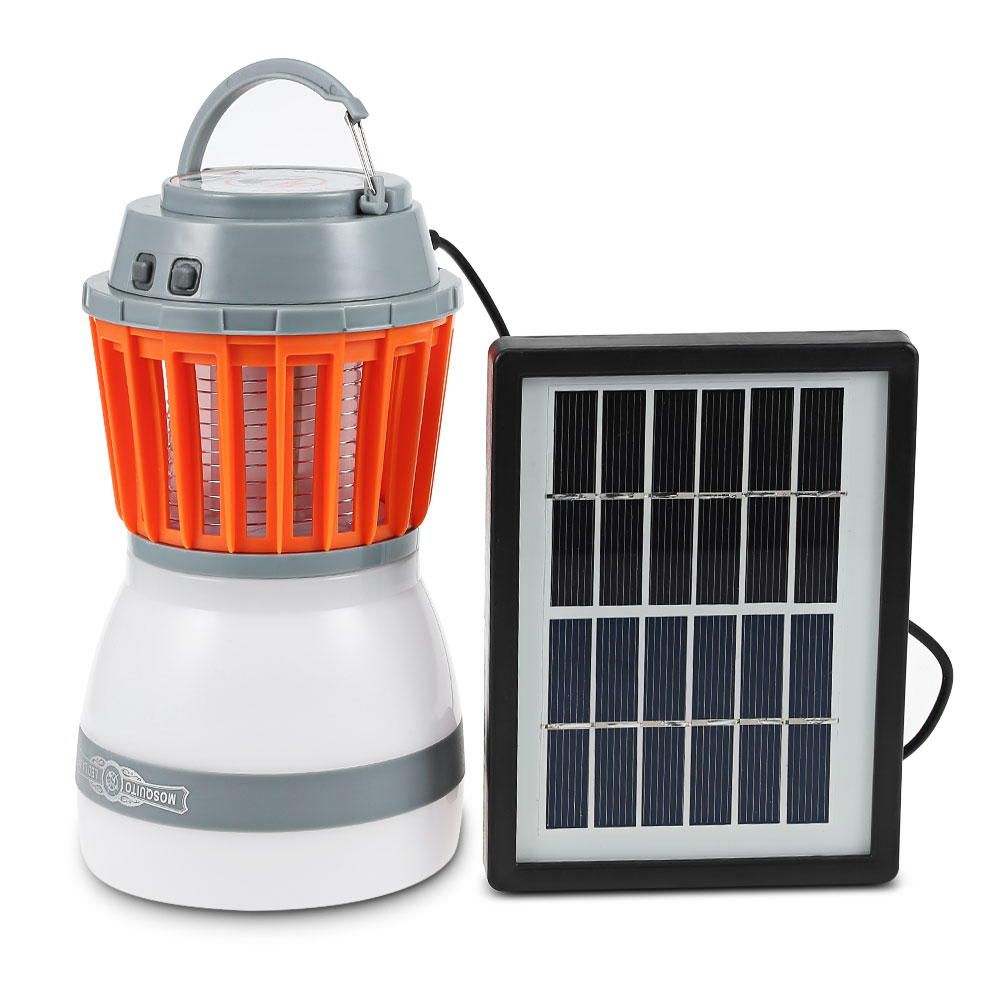 Portable LED Camping Light Mosquito Killer Lamp With Solar Panel USB Charging Pest Repeller Outdoor For Garden Hiking Home Use