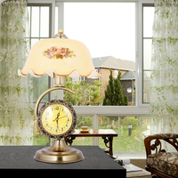 Clock Retro Table Lamps Bed Bedside Lamp Study Bar Living Room Home Decoration Nostalgic Iron Glass Print Shade GY243
