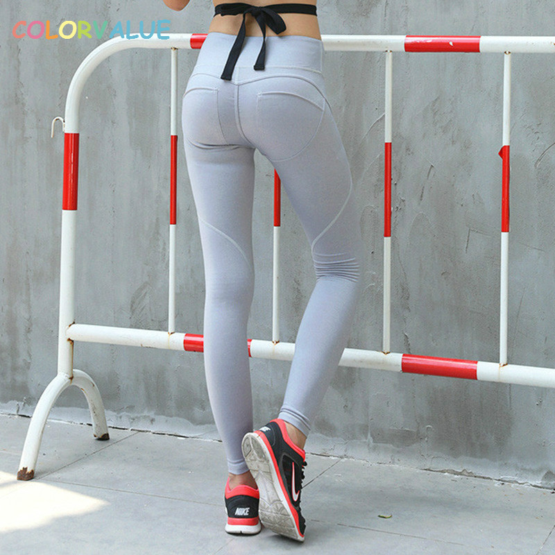 Colorvalue Sexy Mention Hip Sport Leggings Women Slim Flexible Fitness Yoga Pants Solid High Waist Athletic Exercise Leggings colorvalue solid sport fitness leggings women high stretchy yoga pants nylon mesh gym athletic leggings with triangle crotch