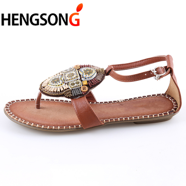 5a511a6d103686 HENGSONG 2018 New Female Beaded Sandals Summer Sandal Female Flip Flops  Flats Shoes Ethnic Totem Floral