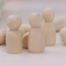 Meninas meninos peg bonecas sólido madeira natural inacabado brinquedos de madeira 20 peças