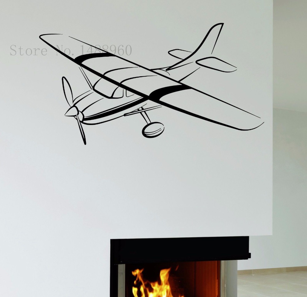 E633 Vinyl Wall Sticker Home Decor Wall Decals Wall Mural Helicopter  Aviation Kids Boys Aircraft Battle