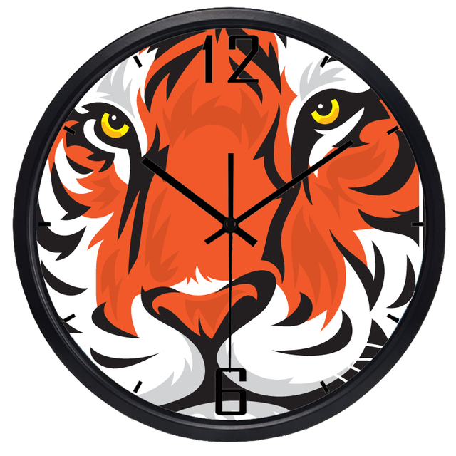 High Quality Long Life Kids Bedroom Colorful Wall Clock Chic Large Cartoon Tiger Head Art