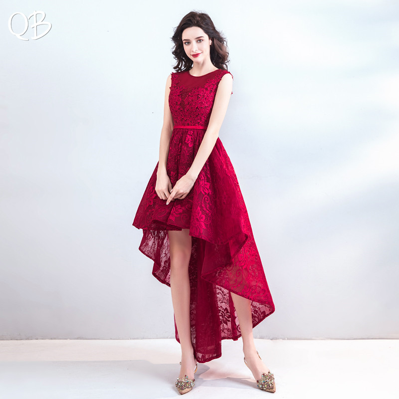 Wine Red High Low Tulle Lace Applique Sexy Luxury   Evening     Dresses   Bride Banquet Party Prom   Dress   XK246