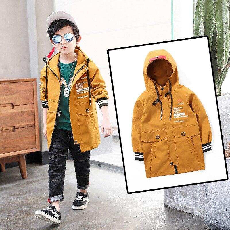 Детская одежда Новинка; Одежда для мальчиков весеннее пальто повседневная куртка дети Длинная Верхняя одежда Одежда для мальчиков для Одеж...