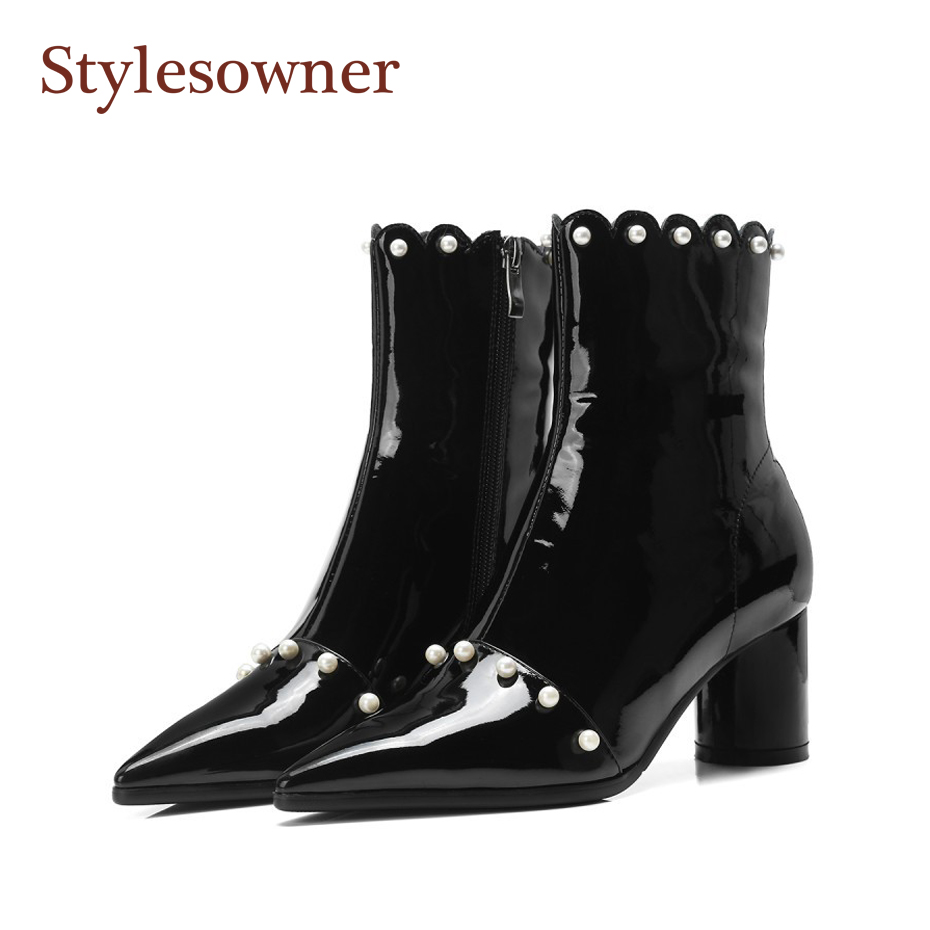 Stylesowner Pearl Decor Patent Leather Boots Ankle Boots 2018 Elegant Black Round Heel All-match Chic Woman Bootie Stylesowner Pearl Decor Patent Leather Boots Ankle Boots 2018 Elegant Black Round Heel All-match Chic Woman Bootie
