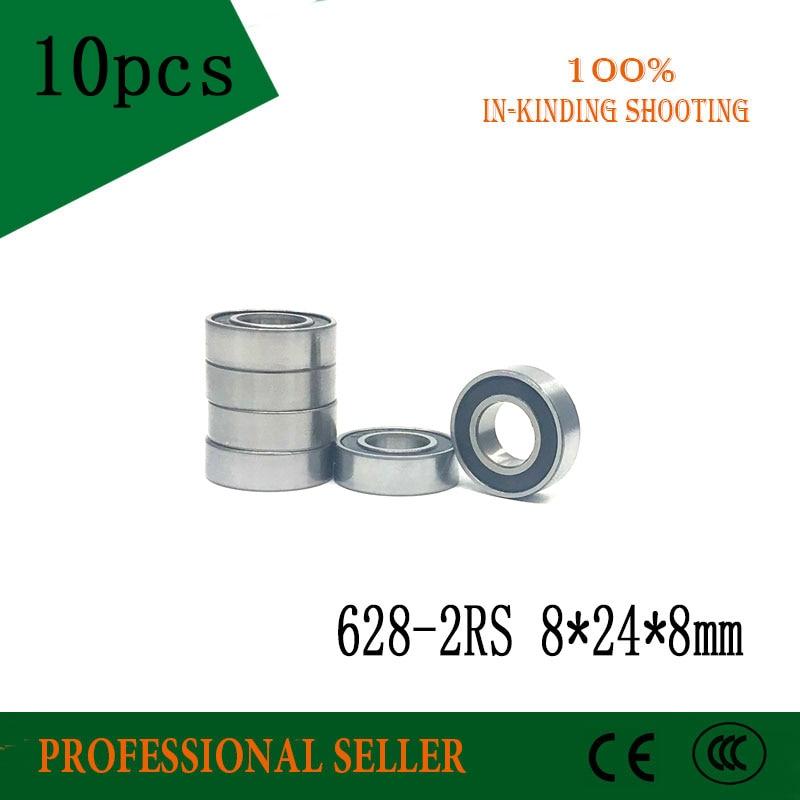 10PCS 628 2RS Bearing ABEC-5   8x24x8 Mm Miniature 628Z Ball Bearings 628 RS  Z3V3 628RS 628-2RS 8*24*8mm