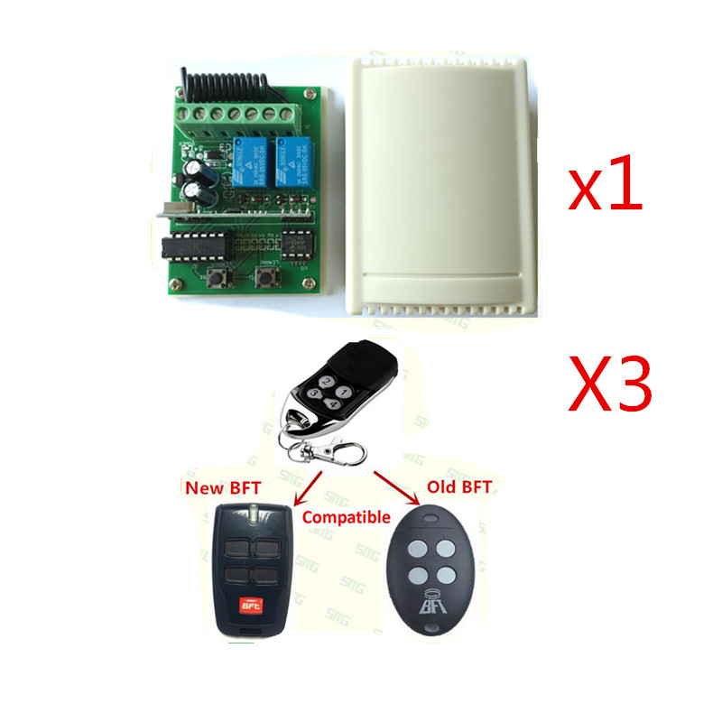 Free shipping 433mhz rolling code BFT remote control and BFT receiver DC12v-24v replacement free shipping dc12v 433mhz metal
