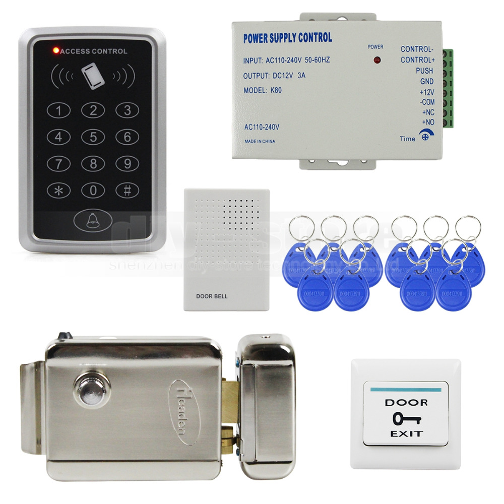 DIYKIT 125KHz Rfid Access Control System Full Kit Set + Electronic Door Lock + Power Supply + Exit Button стоимость