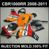 Новый обтекатель наборы для Honda CBR1000RR 2008 2009 2010 2011 литья под давлением Orange Repsol обтекатель CBR1000 RR 08 09 10 11 12