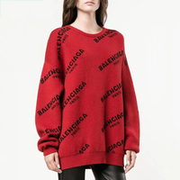 2019 Autumn Winter European Style Women Sweaters Print Letters Ladies Tops Thick Long Sleeve Pullover Warm Knitted Loose Sweater