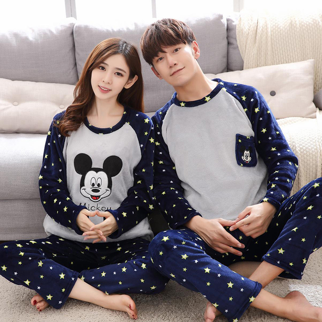 6d4a30fd7d Couples pajamas set thicker flannel couple pajamas men and women Mickey sets  of headdress couple cartoon home service
