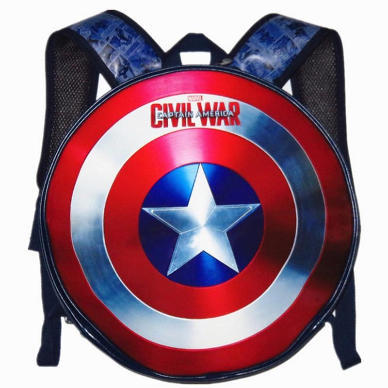Lembrança de Couro Equipe dos Eua com Fenda pu Bolsa Estudante Mochila Escudo Capitão América Marvel Transbordando Wei Autêntica Rodada