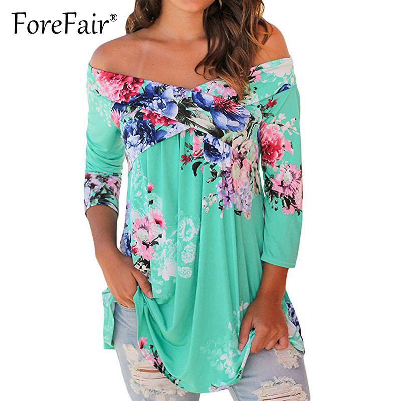 Forefair Fashion Floral Print T-Shirt 2017 Sexy Off Shoulder 3/4 Sleeve Loose Tops S-3XL Plus Size Women Clothing Female Blusa