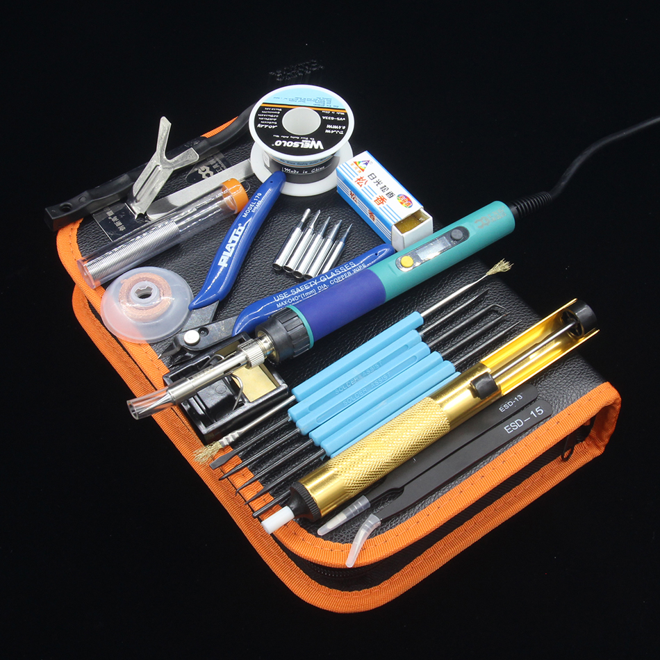 CXG <font><b>936d</b></font> 60W Digital <font><b>LCD</b></font> Adjustable temperature Electric Soldering station Electric soldering iron Tweezers rosin Toolkit image
