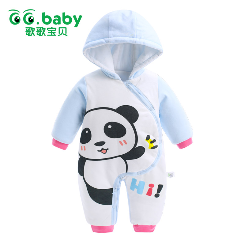 Newborn Hooded Winter Baby Rompers Panda Baby Boy Romper Cotton Toddler Baby Clothes Jumpsuit Outwear Warm Baby Boys Jumpsuits newborn baby boy winter rompers long sleeve cotton clothing toddler baby clothes romper warm cartoon jumpsuit baby boys pajamas