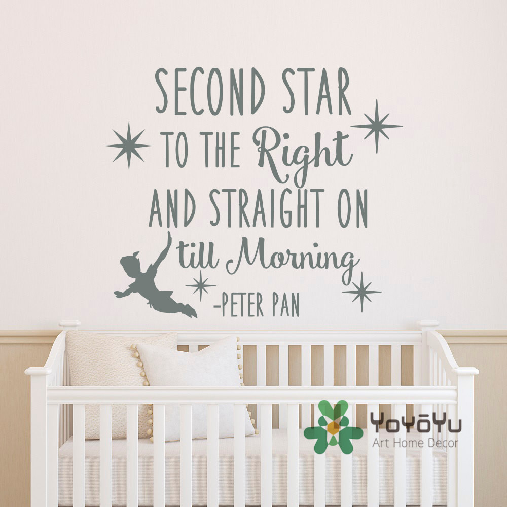 Peter pan quote wall decal second star to the right and straight peter pan quote wall decal second star to the right and straight on till morning wall sticker for kids boys room decor wa 15 in wall stickers from home amipublicfo Gallery