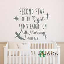 Peter Pan Quote Wall Decal Second Star To The Right And Straight On Till Morning Sticker for Kids Boys Room Decor WA-15