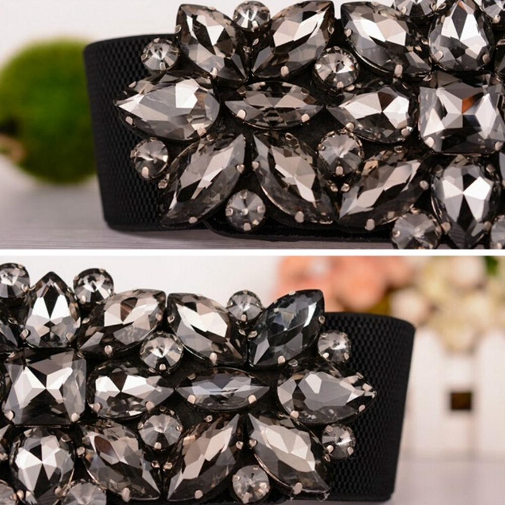Gorgeous Crystal Buckle Wide Corset Waistband Women Elastic Waist Belts for Ladies Black Stretch Strap Belt Cinch Accessories