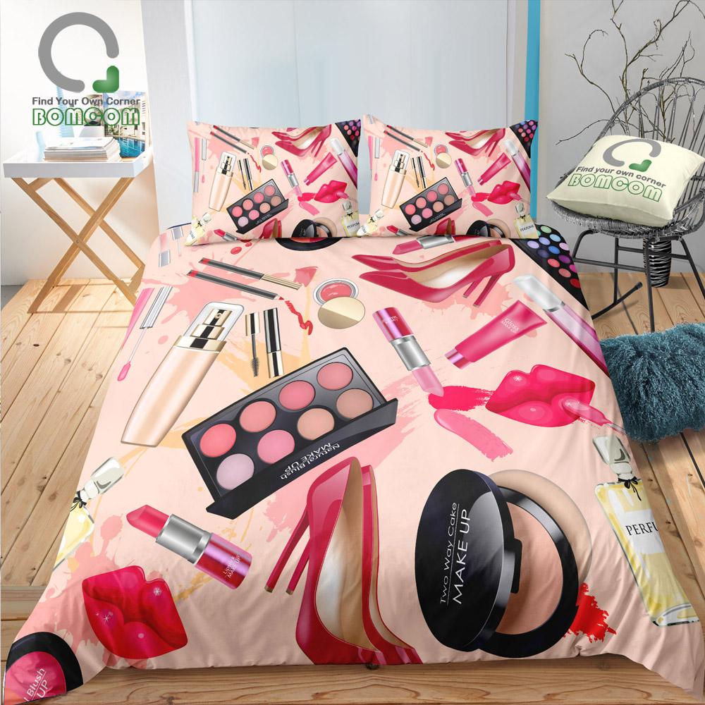 BOMCOM 3D Digital Printing Duvet cover set perfume bottle pink powder box lipstick cosmatic Bedding Set