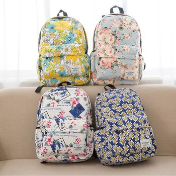 Miyahouse Women Canvas Backpacks For Teenage Girls Travel Rucksack Fashion School Bags For Girls Floral Printing Backpack Women