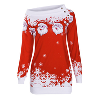 Sexy Off Shoulder Christmas Dress Women Winter Autumn Dress Female Long Sleeve Santa Claus Printed Casual