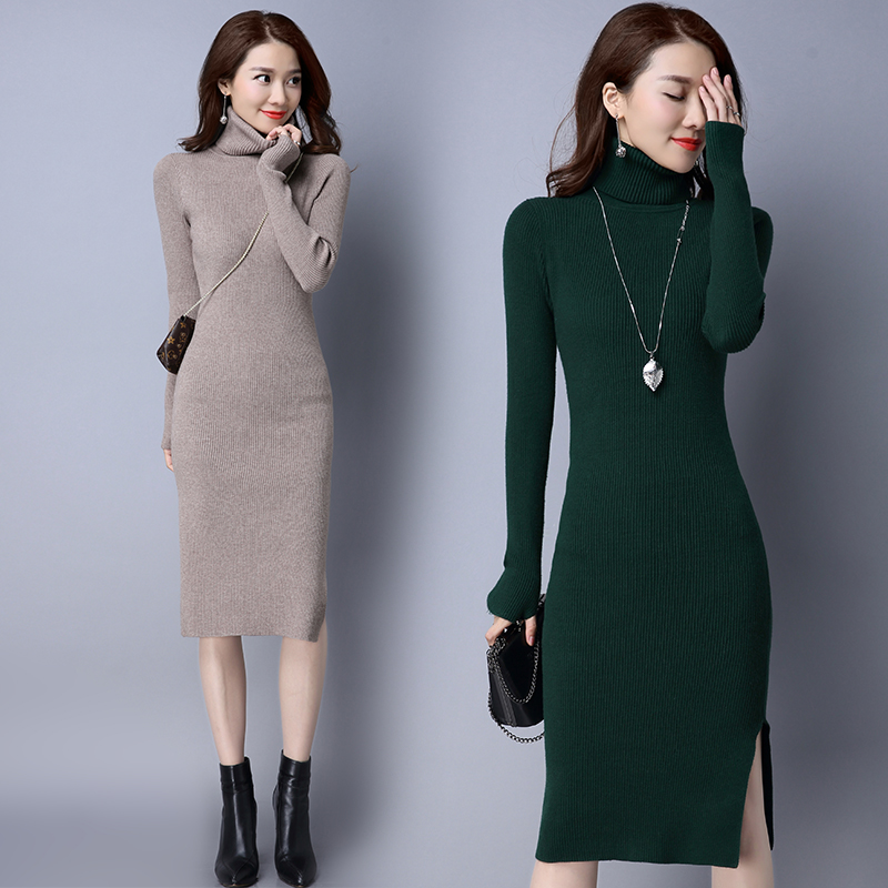Winter Autumn Women Dress Long Sleeve Sexy Party Black Knitted Dress Casual Bodycon Vestidos high collar Pullovers Sweater