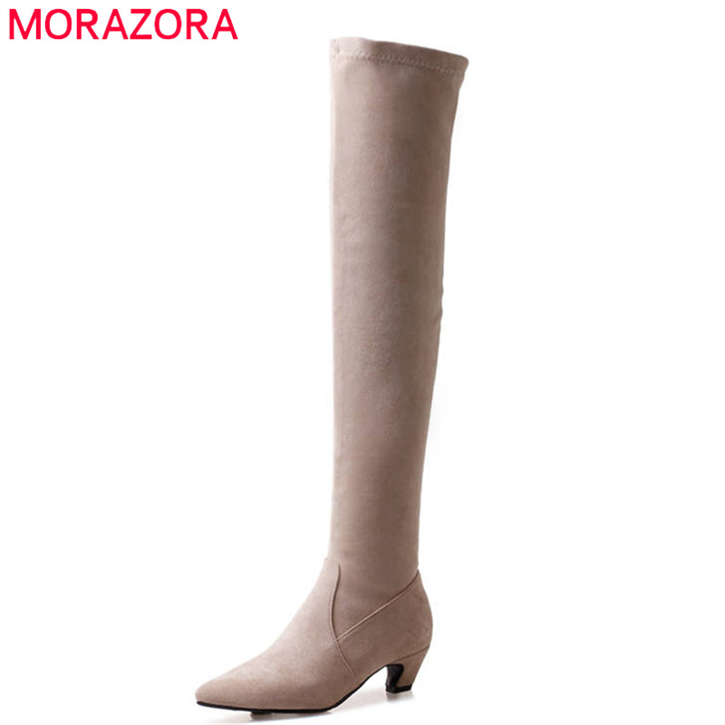 MORAZORA 2018 new arrival thigh high over the knee boots flock slip on elegant long boots women fashion autumn winter shoesMORAZORA 2018 new arrival thigh high over the knee boots flock slip on elegant long boots women fashion autumn winter shoes