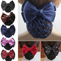 1pcs Stylish Solid Color Satin Bow Barrette Lady Hair Clip Cover Bowknot Bun Snood Women Hair Accessories