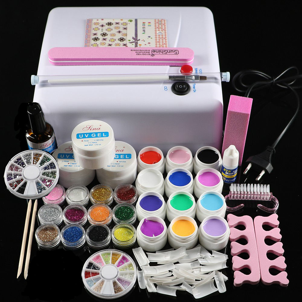Professional Full Set 12 color UV Gel Kit Brush Nail Art Set + 36W Curing UV Lamp kit Dryer Curining Tools professional nail dryer lamp machine 12 color uv gel polish nail art tips glue brush kit set diy manicure tools for beautynail
