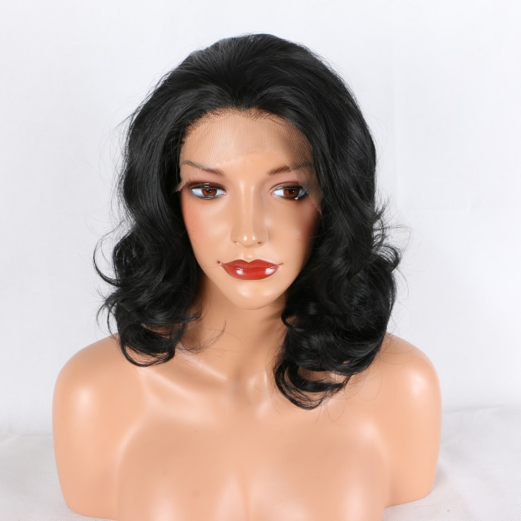 Fantaisie beauté noir court Bob avant de lacet perruques pour les femmes naturel à la recherche sans colle demi-main liée courte perruque synthétique ondulée